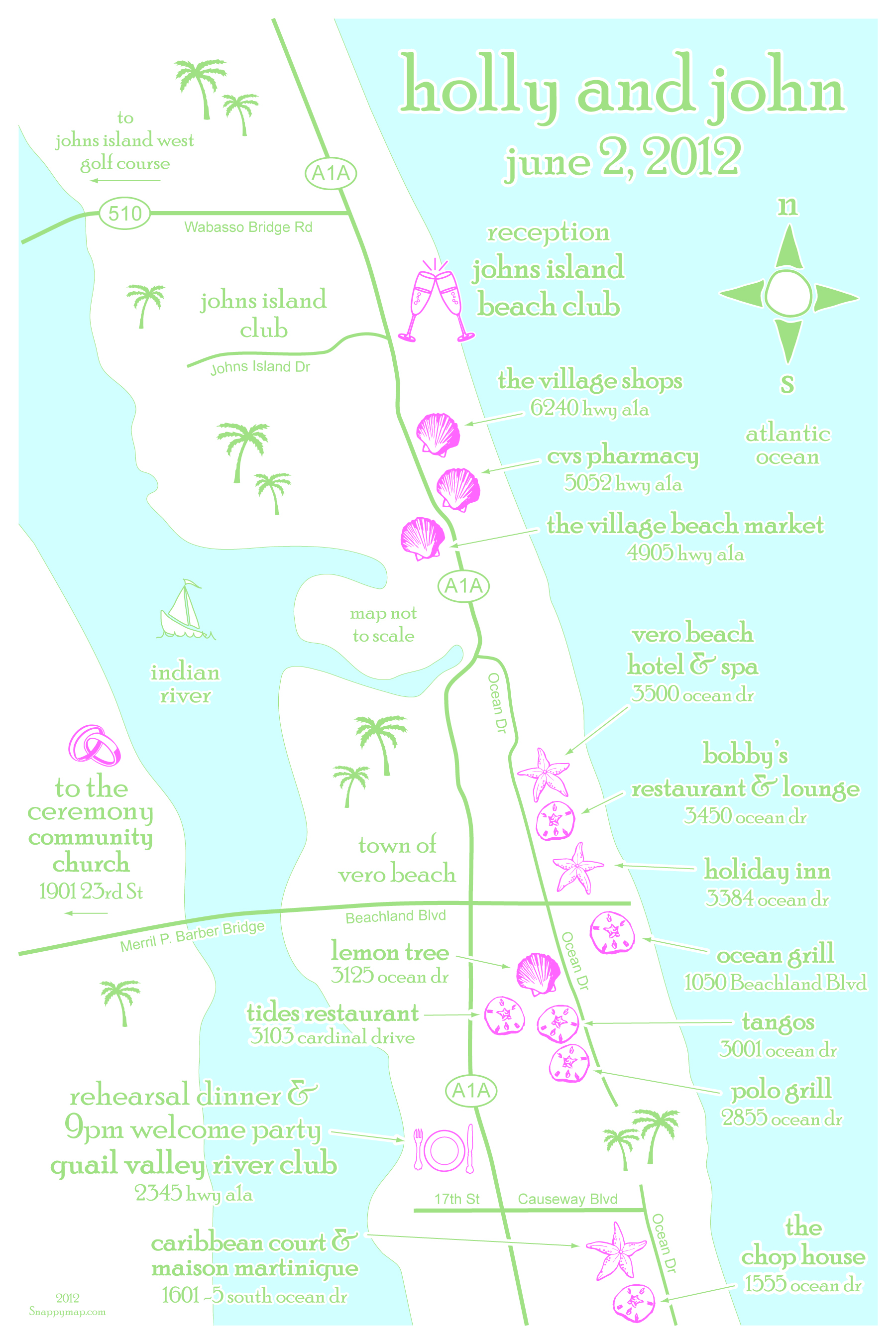 Fun Wedding Map Palm Beach