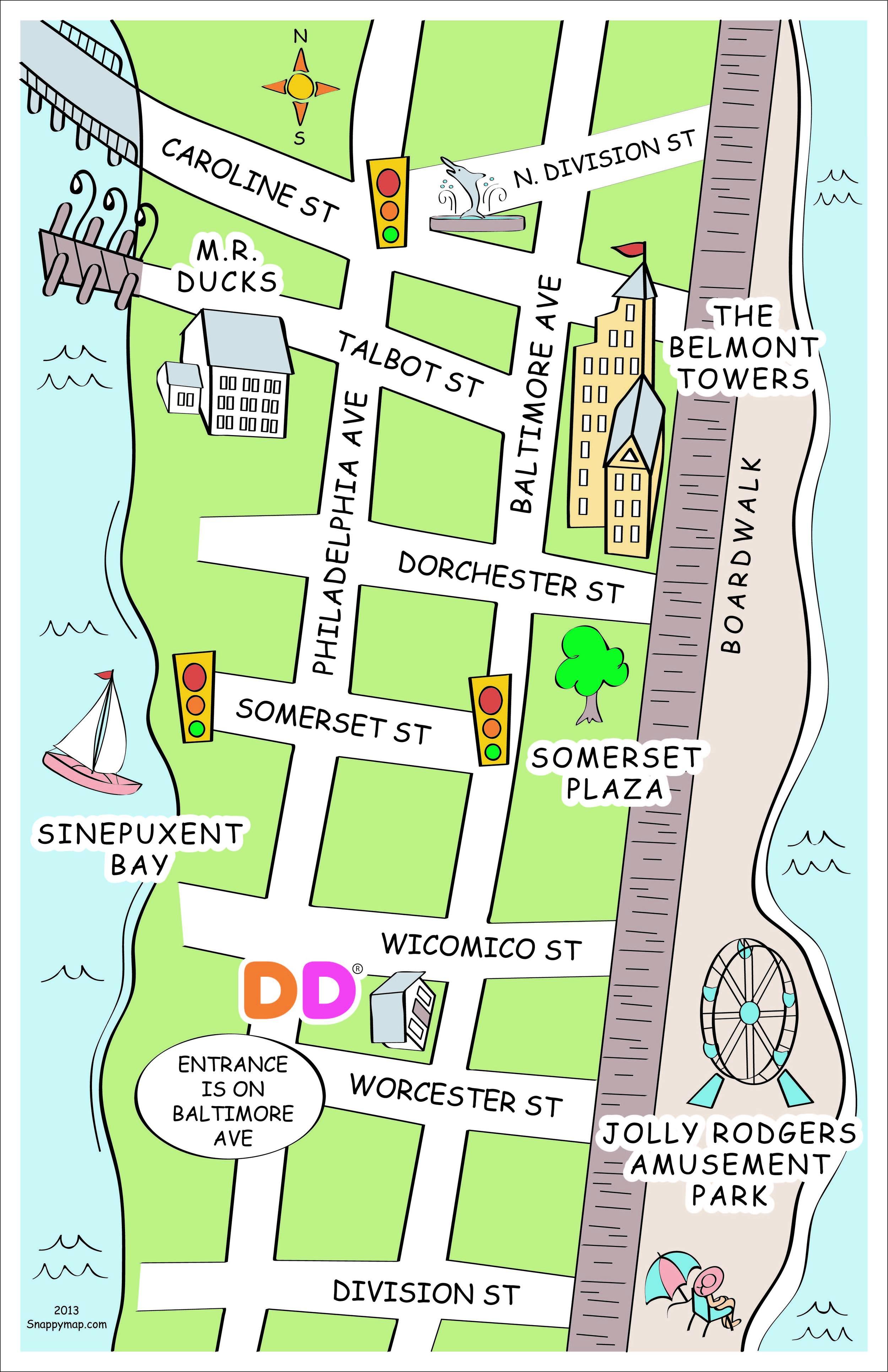 Hand Drawn Map Ocean City