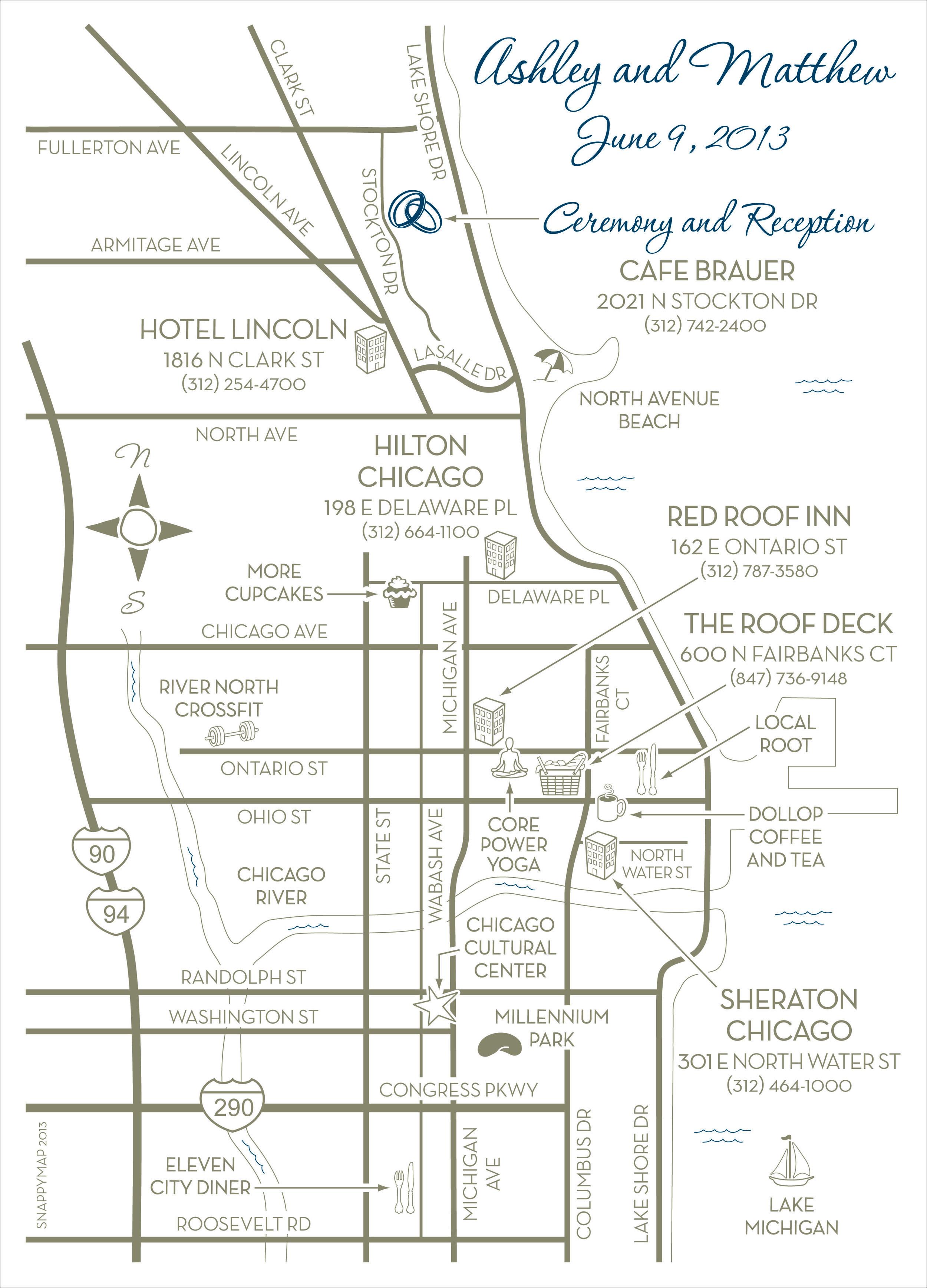 Fun Wedding Map Chicago