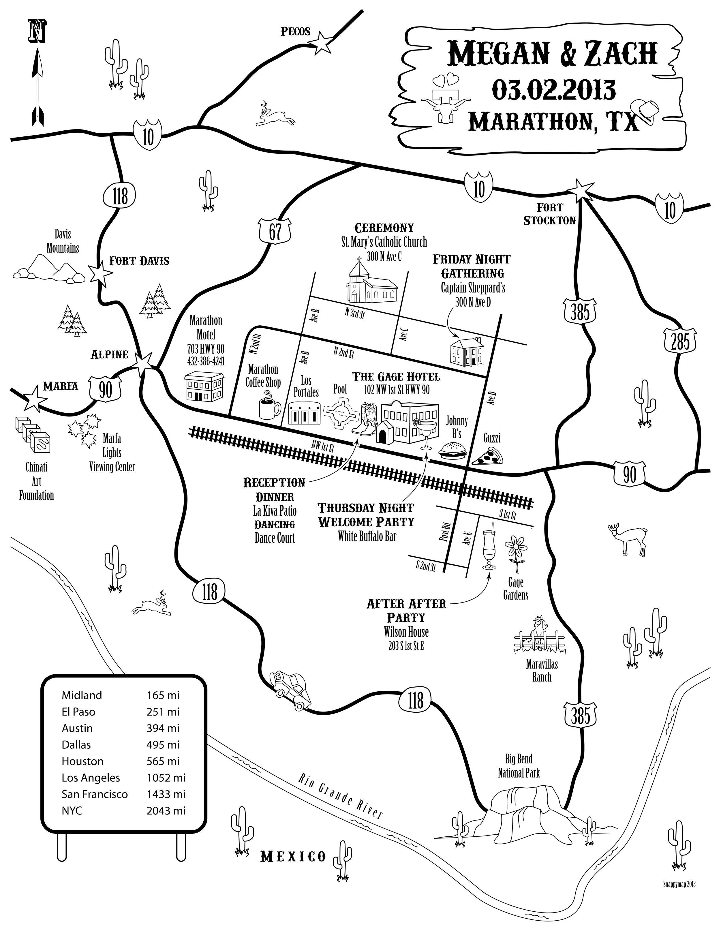 Fun Wedding Map West Texas