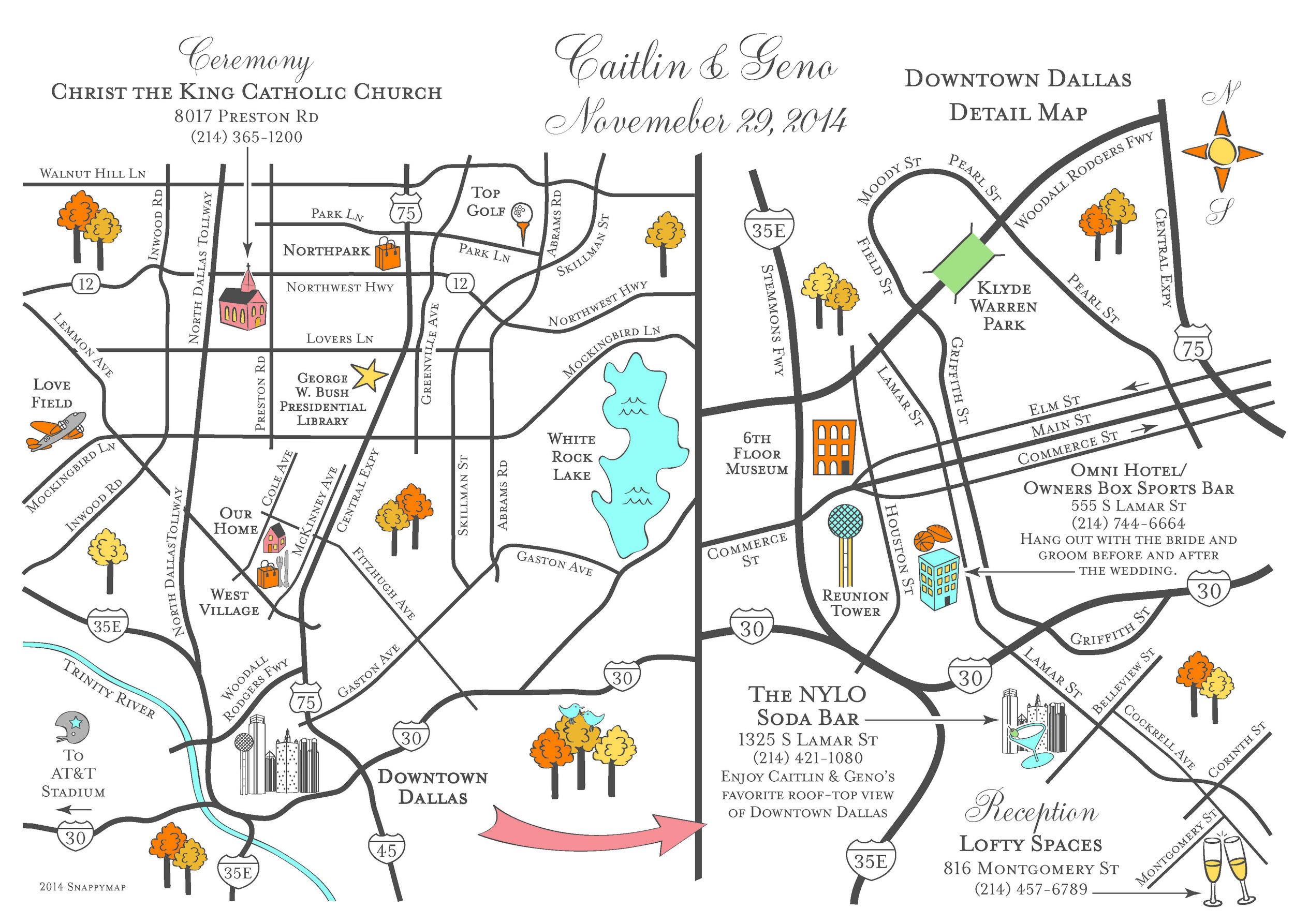 Hand Drawn Map Dallas