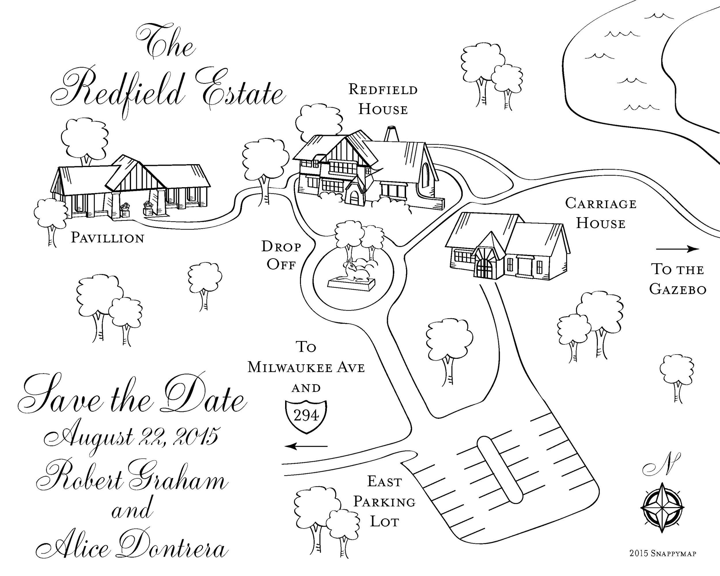 Hand Drawn Map Redfield Estate