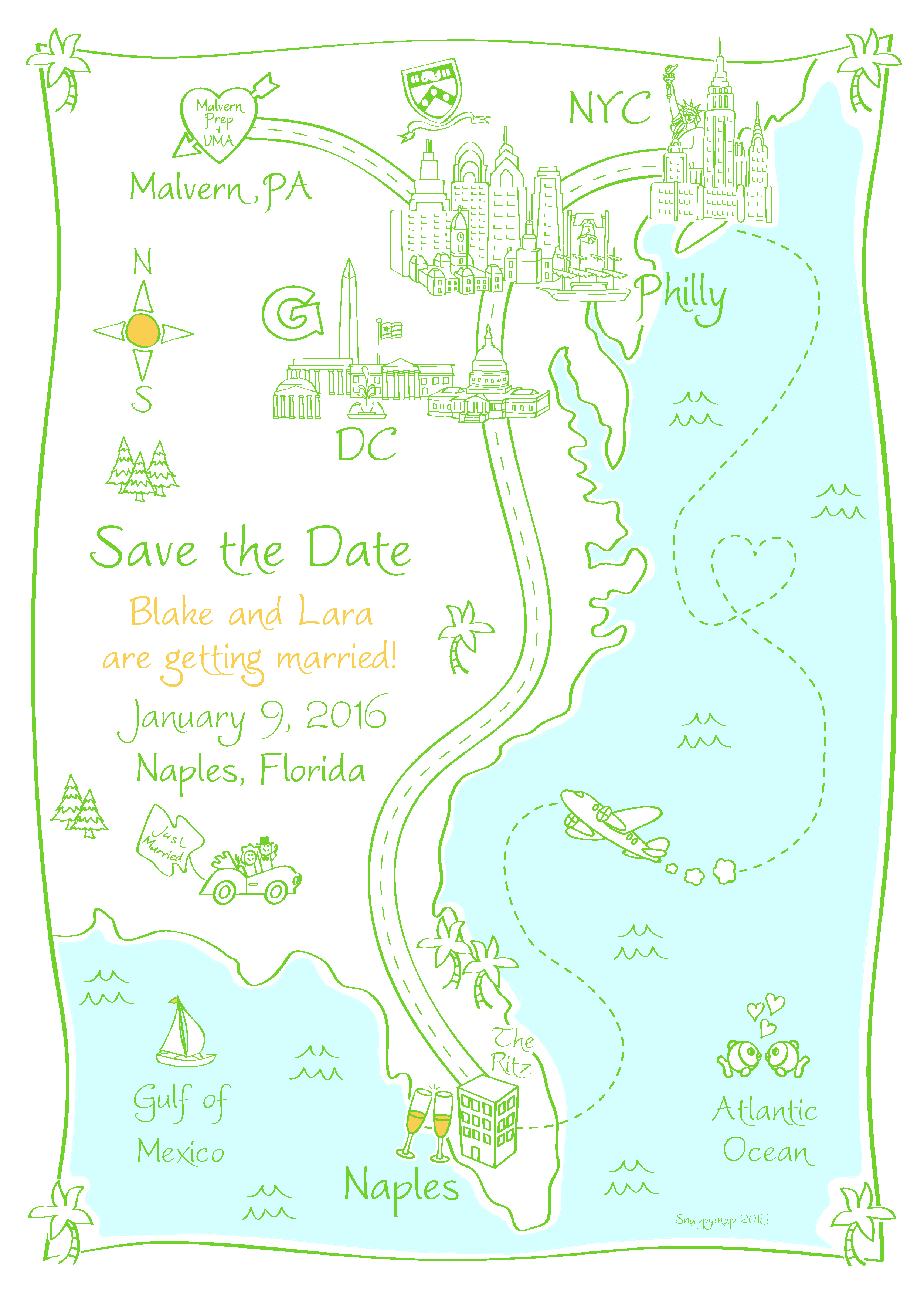 Save the Date map