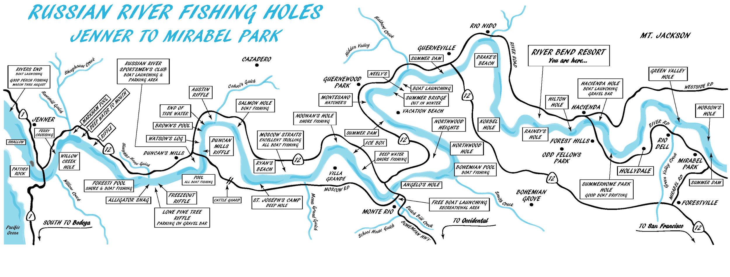 Russian River Fishing Holes Map