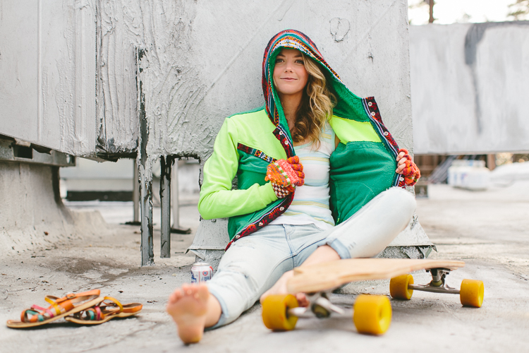 Lindsey's Winter Street Style Fashion Portrait with her Long Board