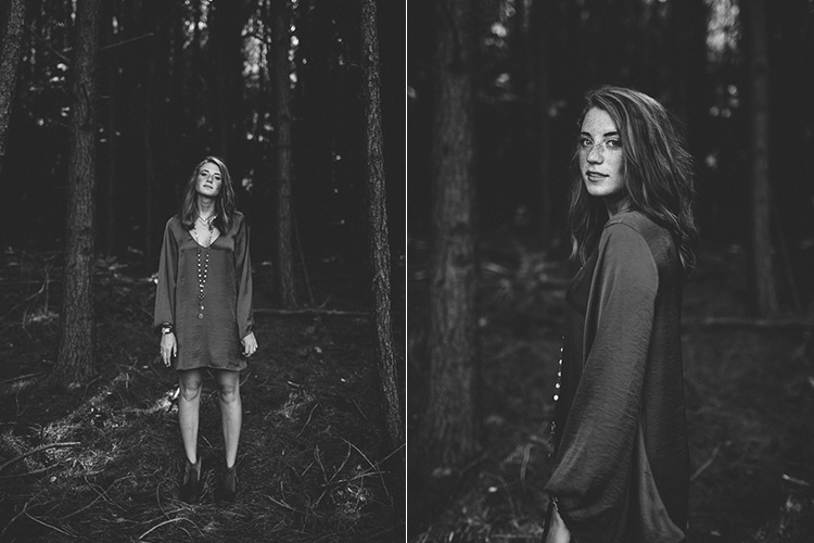 Black and White Senior Portrait in Woods