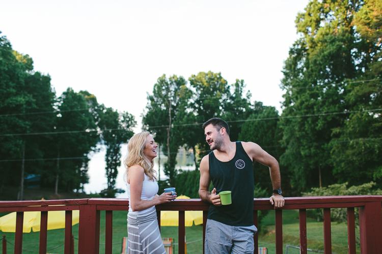 Engaged Couple Having Morning Coffee
