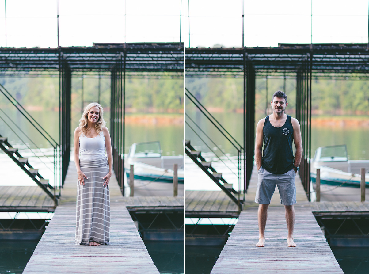 Solo Shots of Engaged Couple on Boat Dock