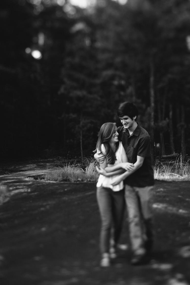 Black and White Shot of Happy Engaged Couple