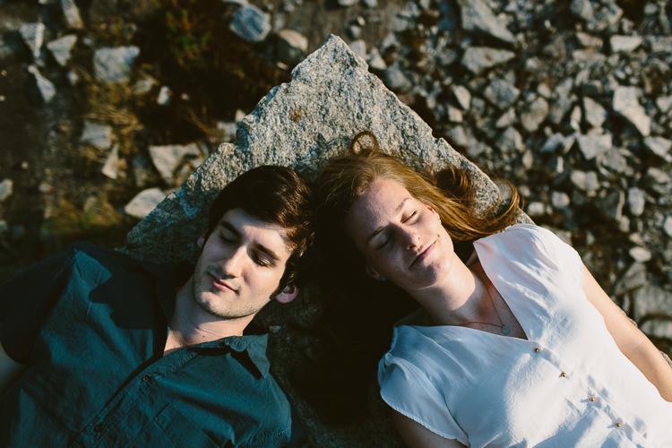 Engaged Couple Lying Down on Arabia Mountain