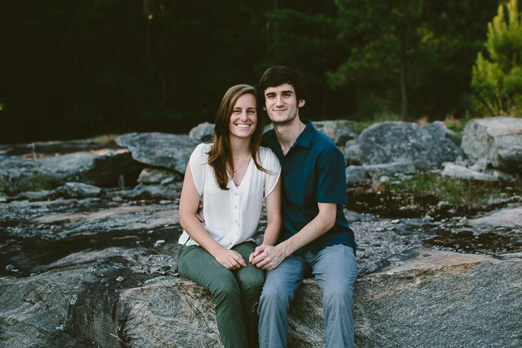 Happy Engaged Couple on Arabia Mountain