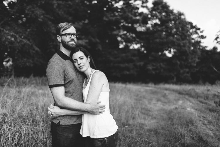 Black and White Shot of Engaged Couple