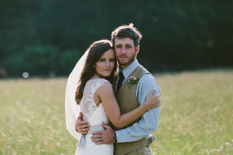 Beautiful lighting on Bride and Groom