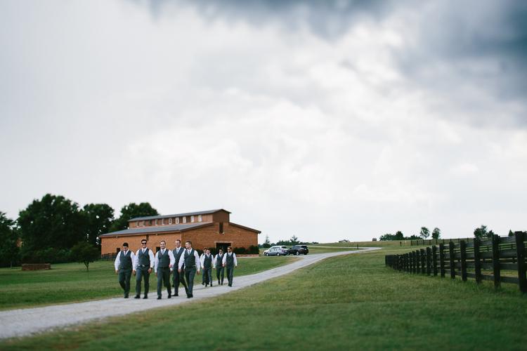 The Groomsmen Walking Through the Farm