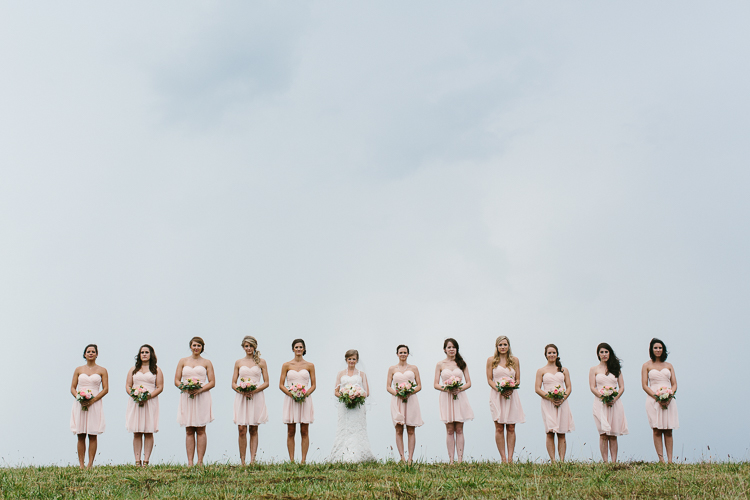 The Bride and Her Bridesmaids Lined Up