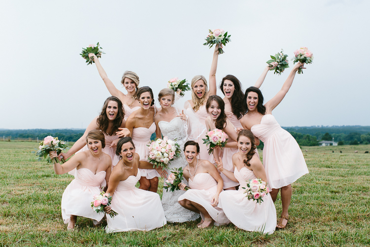 The Bride and Her Bridesmaids Striking a Pose