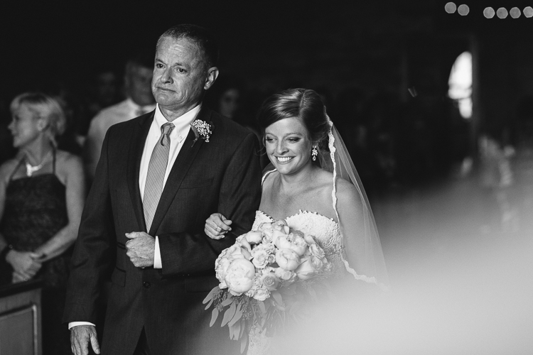 The Father and the Bride Walking Down the Aisle