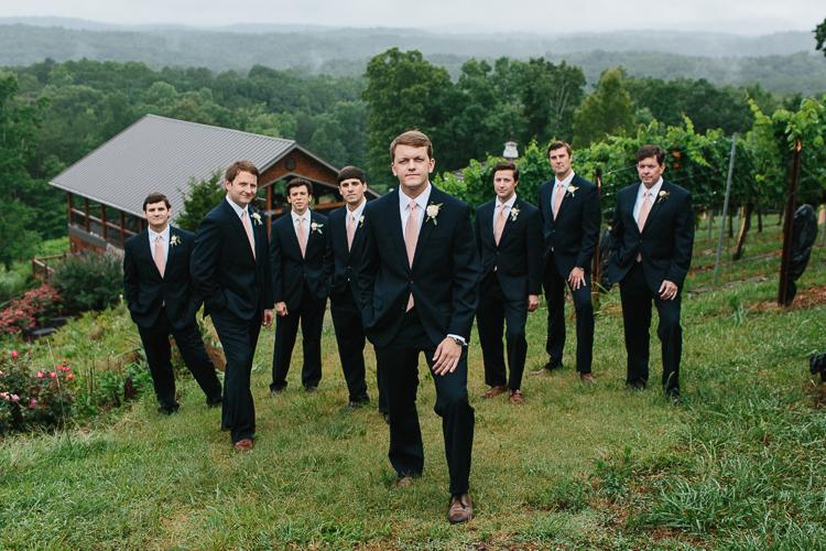 The Groom with his Groomsmen | Wolf Mountain Vineyard Wedding