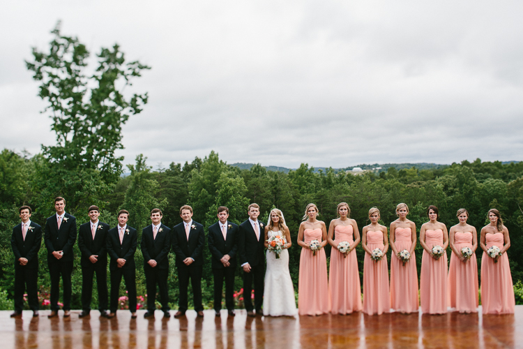 Wedding Party in Straight Line at Wolf Mountain Vineyards