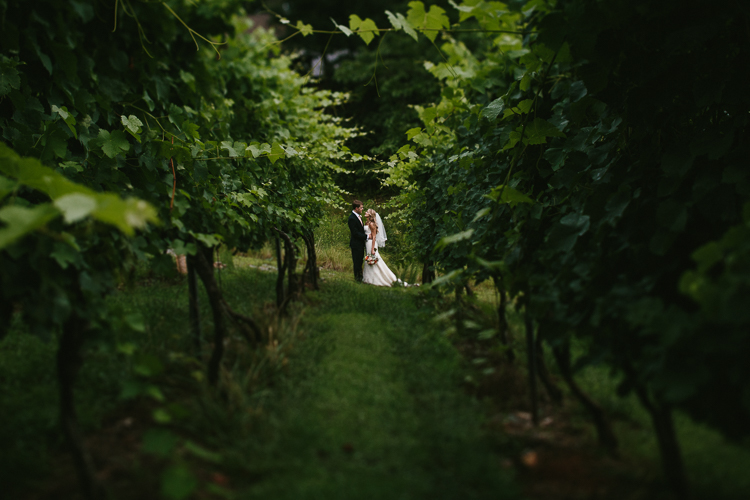 The Bride and Groom Gazing at Each Other in the Vinyards