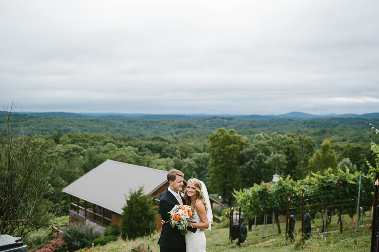 The Bride and Groom Overlooking the Gorgeous Scenery