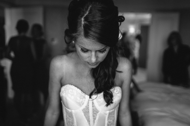 Stunning black and white bride getting ready portrait
