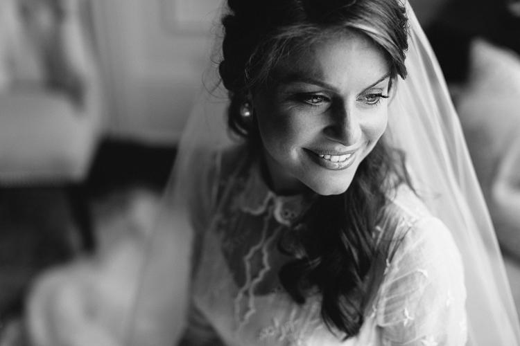 Stunning black and white bride portrait