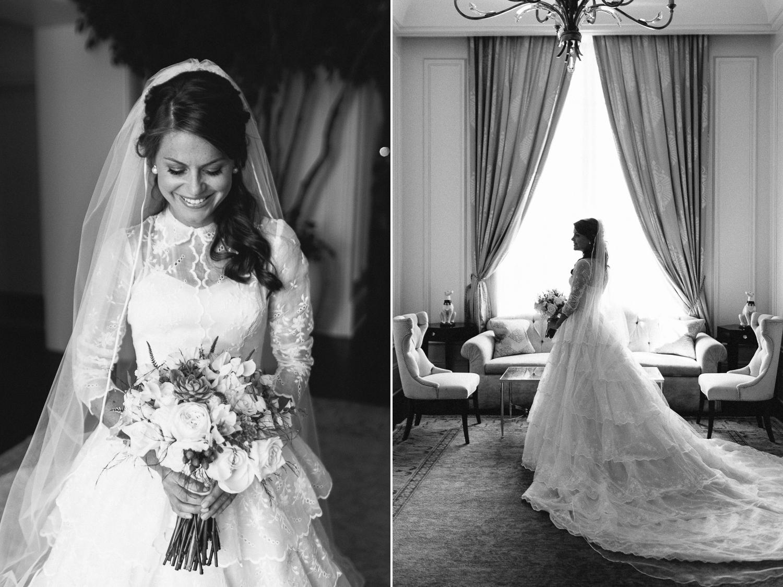 Black and white bride portraits