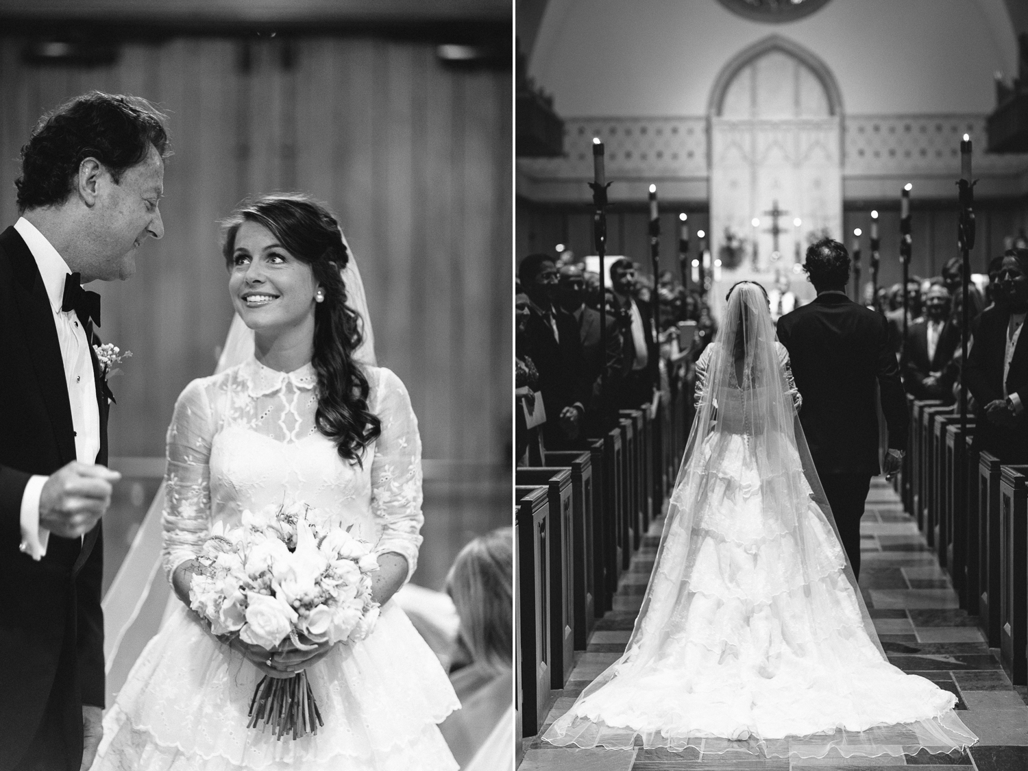 Beautiful bride with cathedral vail walking down the aisle