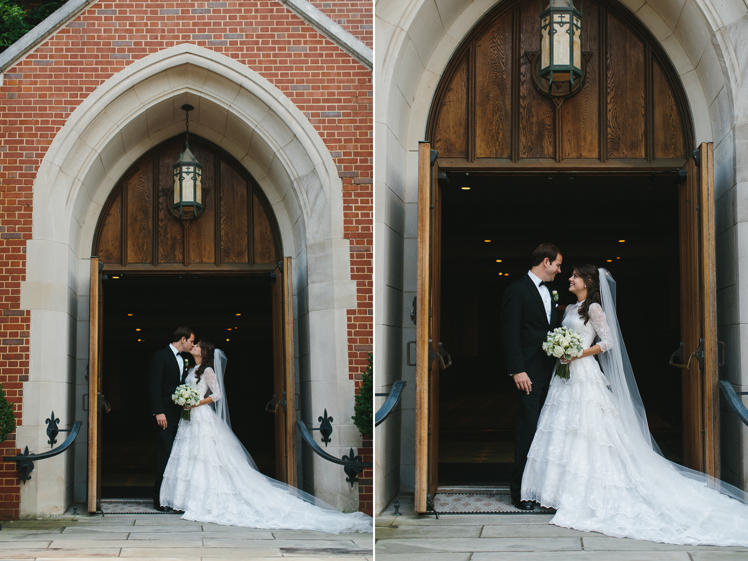 Bride and groom archway portrait