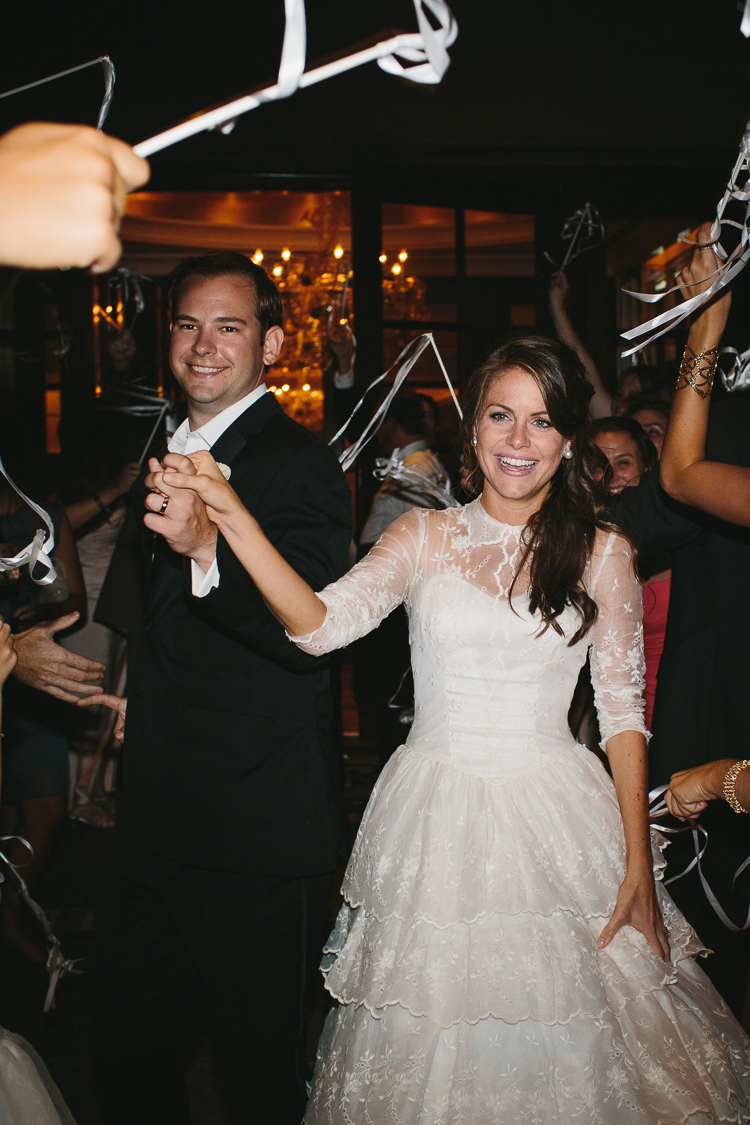 Bride and groom's grand exit