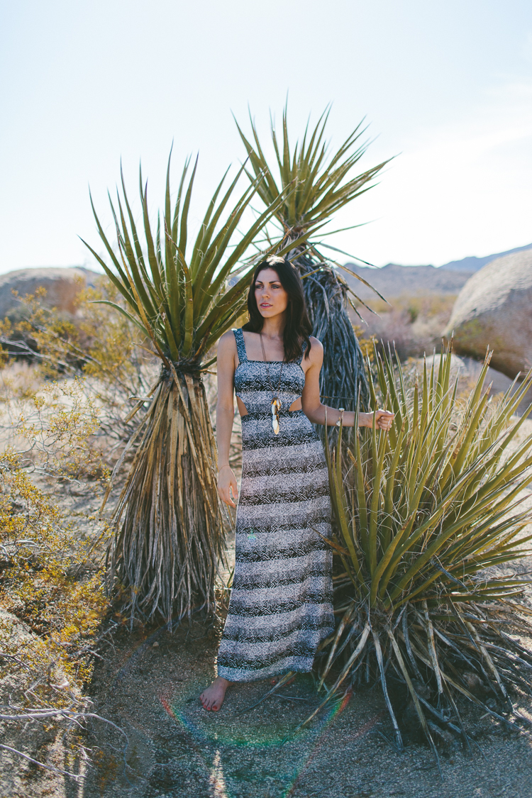 Bohemian style fashion portraits in Joshua Tree National Park