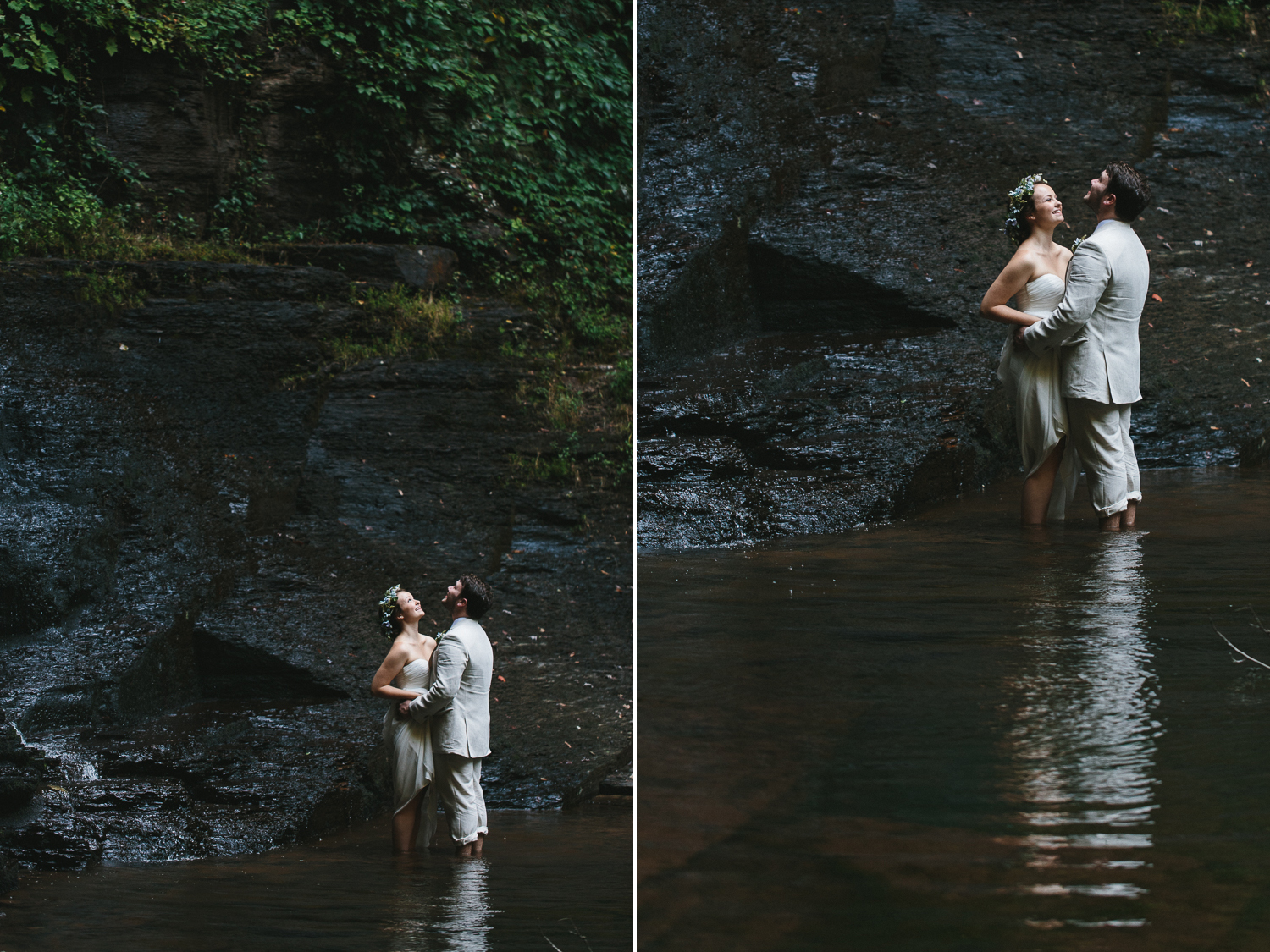 Bride and Groom portraits in cloudland canyon