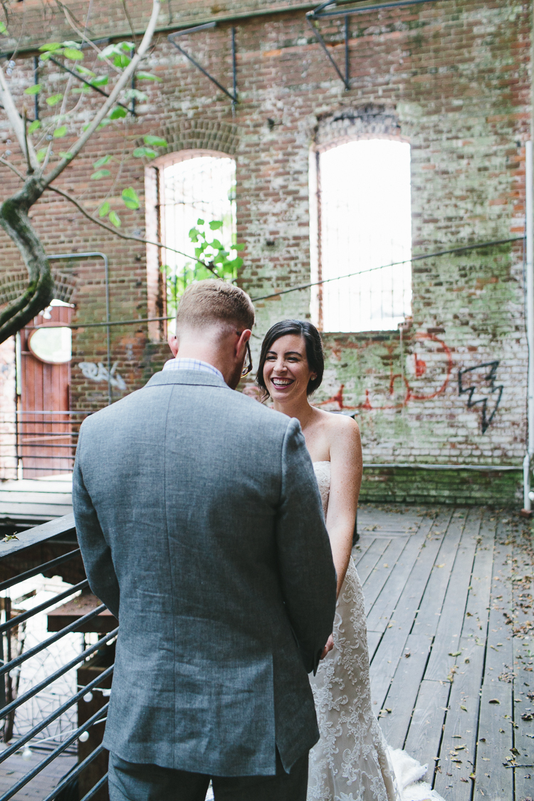 Bride and groom's first glance