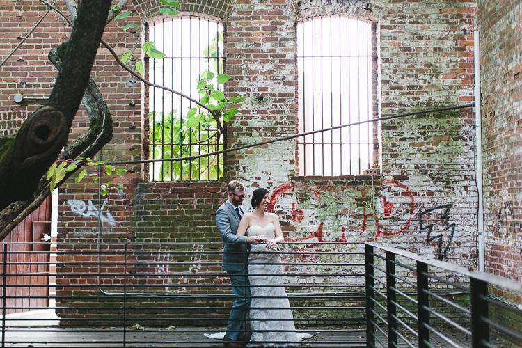 Urban bride and groom portraits
