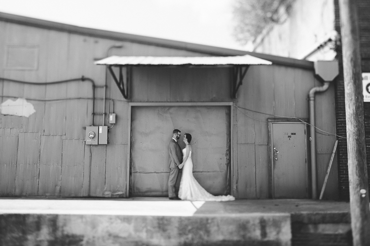 Black and white urban bride and groom portraits