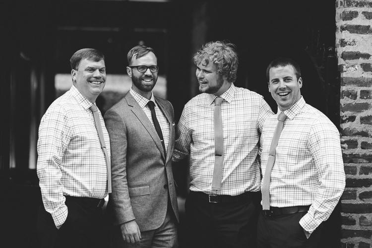 Stylish black and white groomsmen portrait