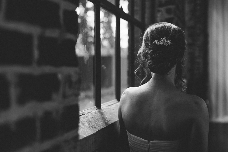 Black and white bridal portrait from behind