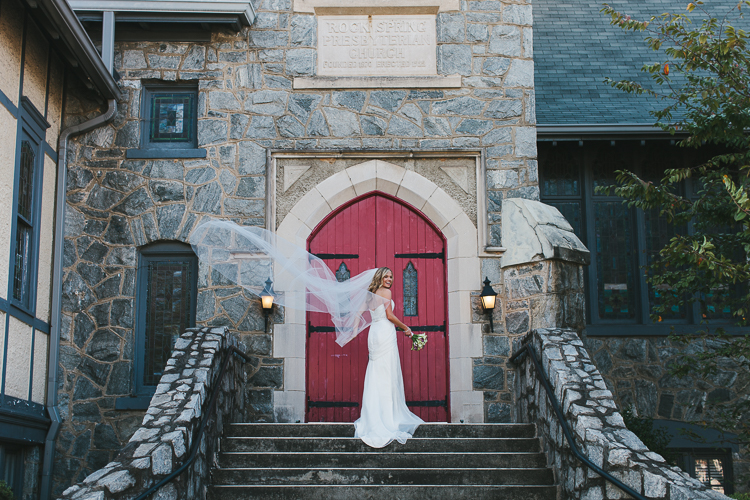 Bride with beautiful cathedral vail