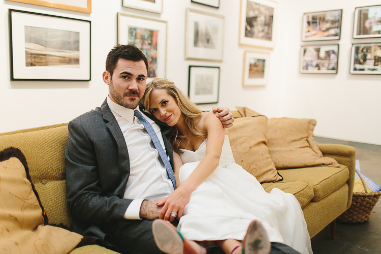 Bride and groom at their art gallery reception