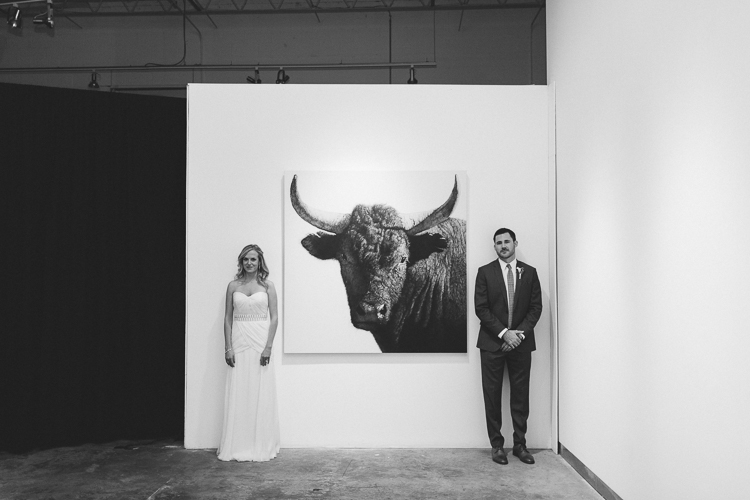 Artsy black and white bride and groom portrait