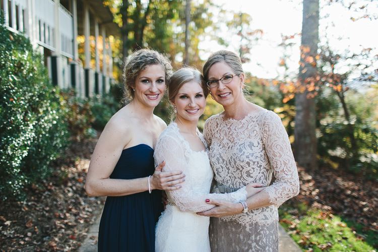 Bride with her mother and sister