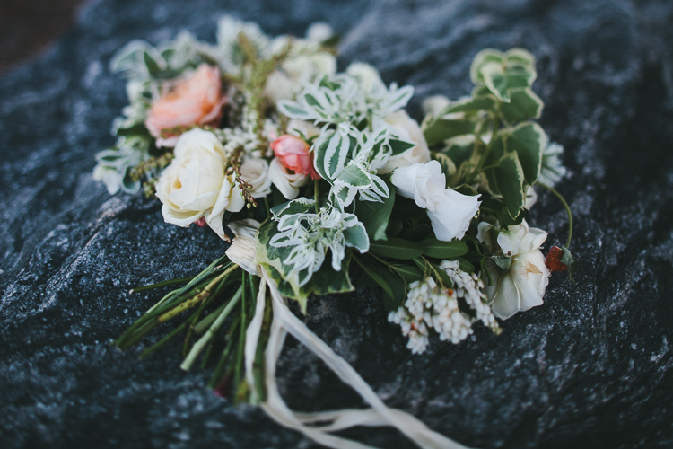 Beautiful bride's bouquet on the rocks
