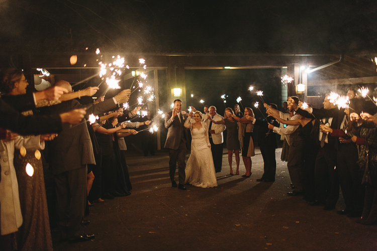 Bride and groom's grand exit with sparklers