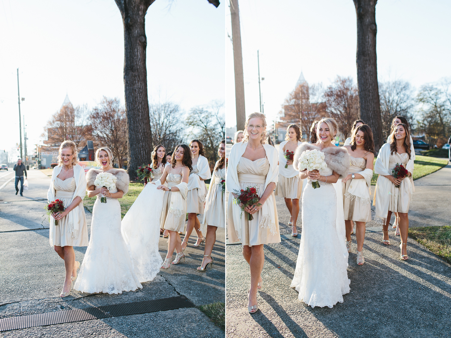 bride and bridesmaids walking down the street together