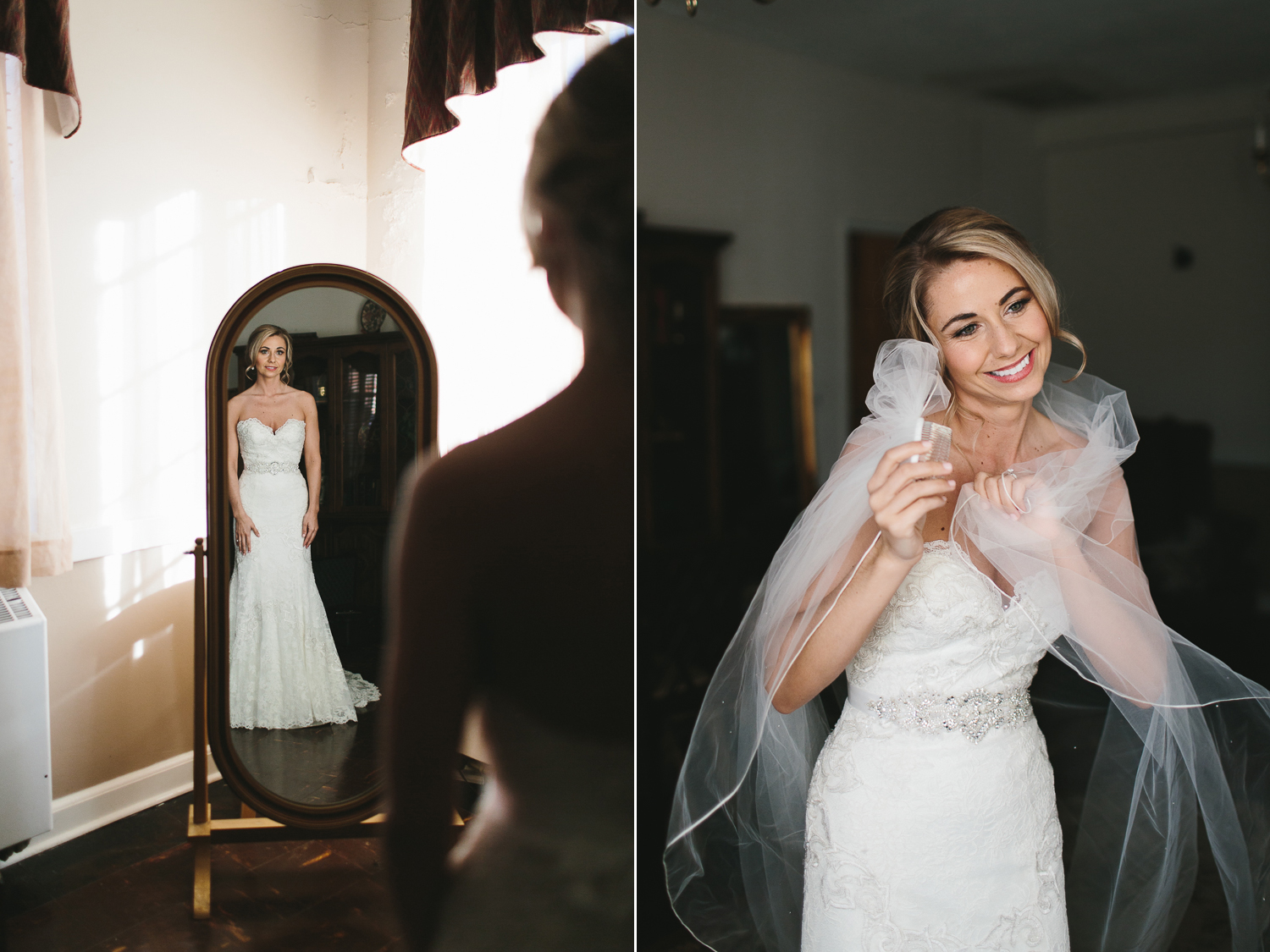 bride wrapped in her veil