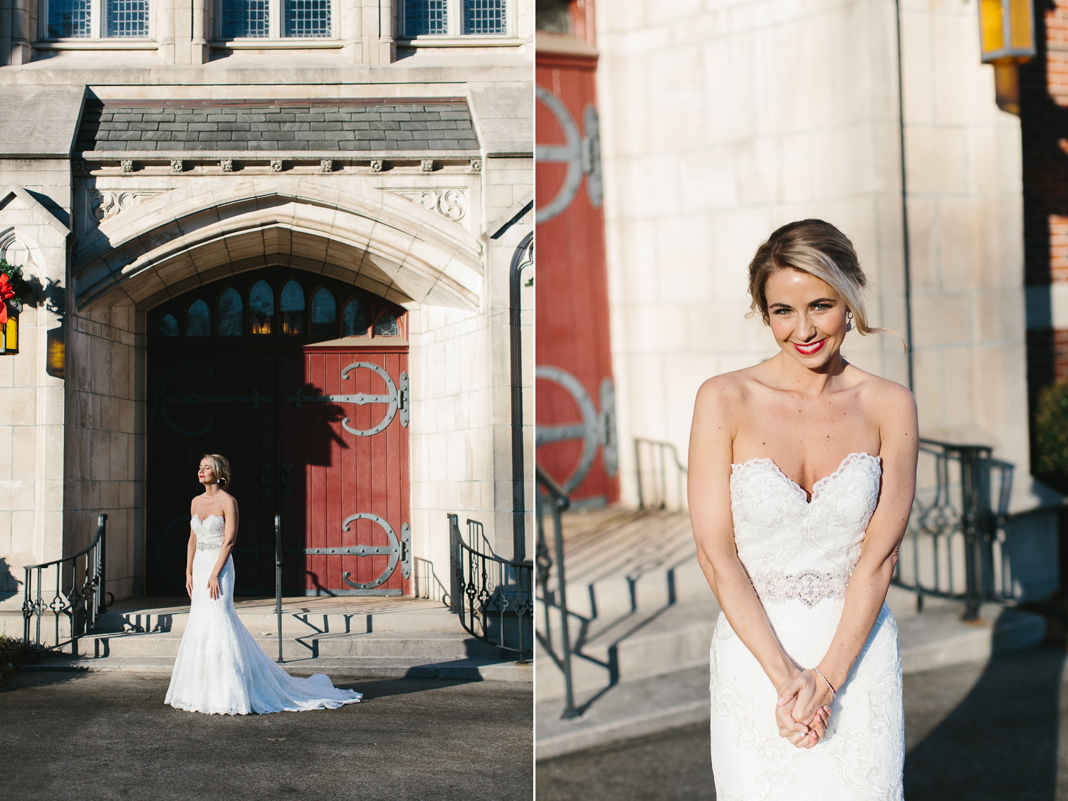 beautiful bridal portraits in front of the church
