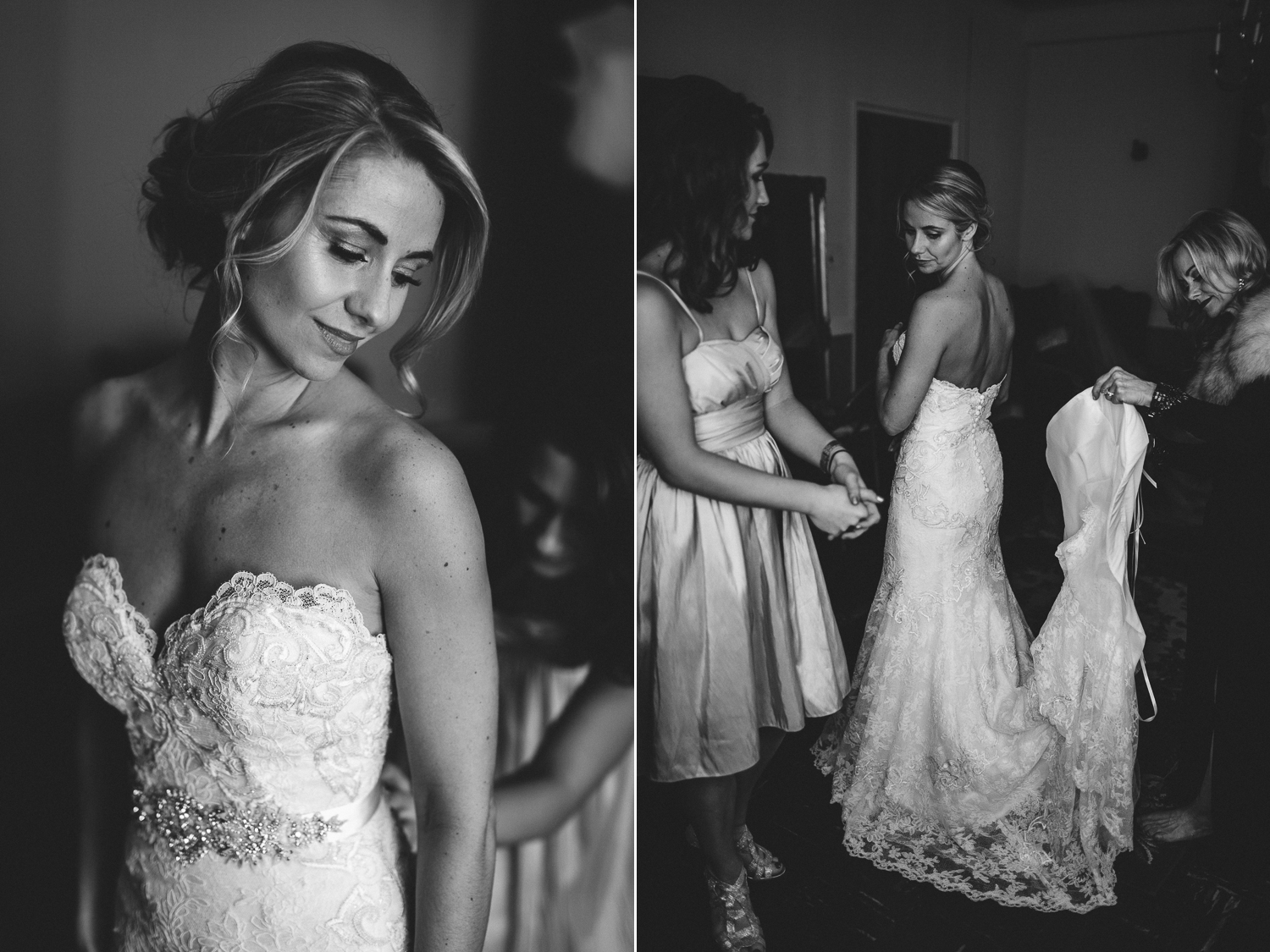 beautiful black and white portrait of bride getting ready