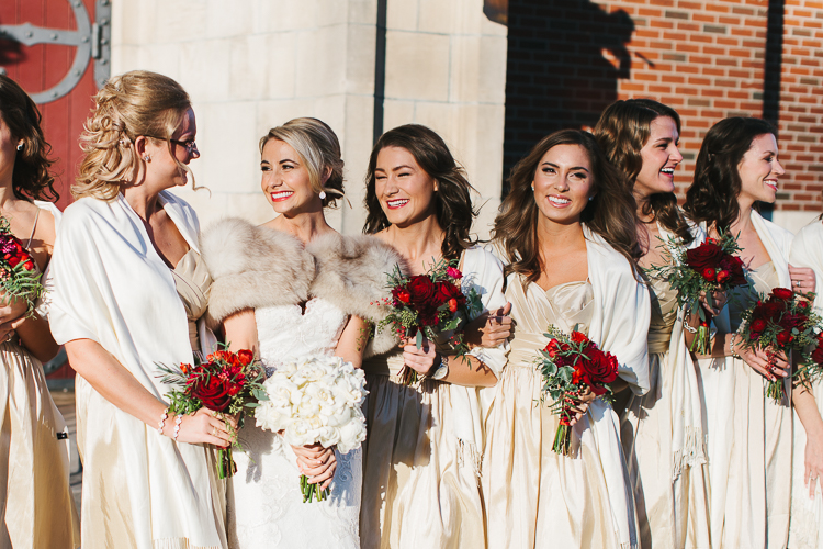 bride and her bridesmaids before the ceremony