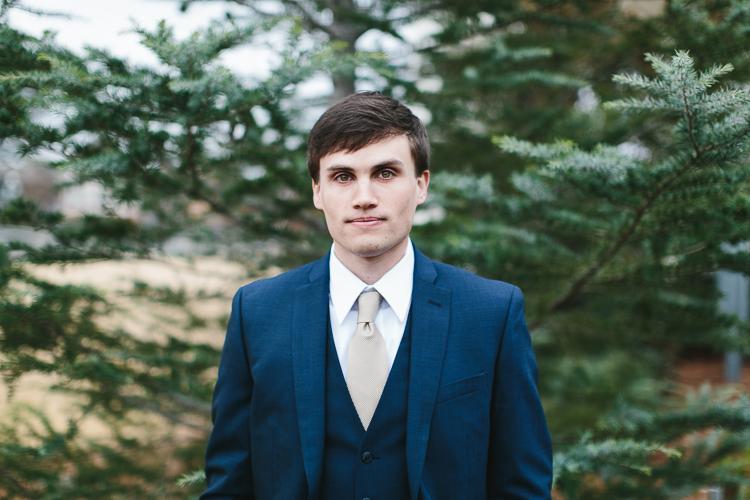 close up groom portrait